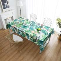 """iLiveX Tablecloth, Original Design Hand Drawing Art Print Table Cloth, Water-Proof Rectangle Table Cover, Kitchen Dining Indoor Outdoor Buffet Tabletop Decoration, 60""""x84"""" (Green Tropical)"""