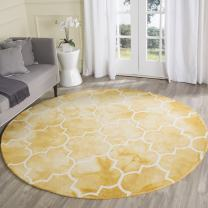 Safavieh Dip Dye Collection DDY535H Handmade Moroccan Watercolor Gold and Ivory Wool Round Area Rug (7' Diameter)