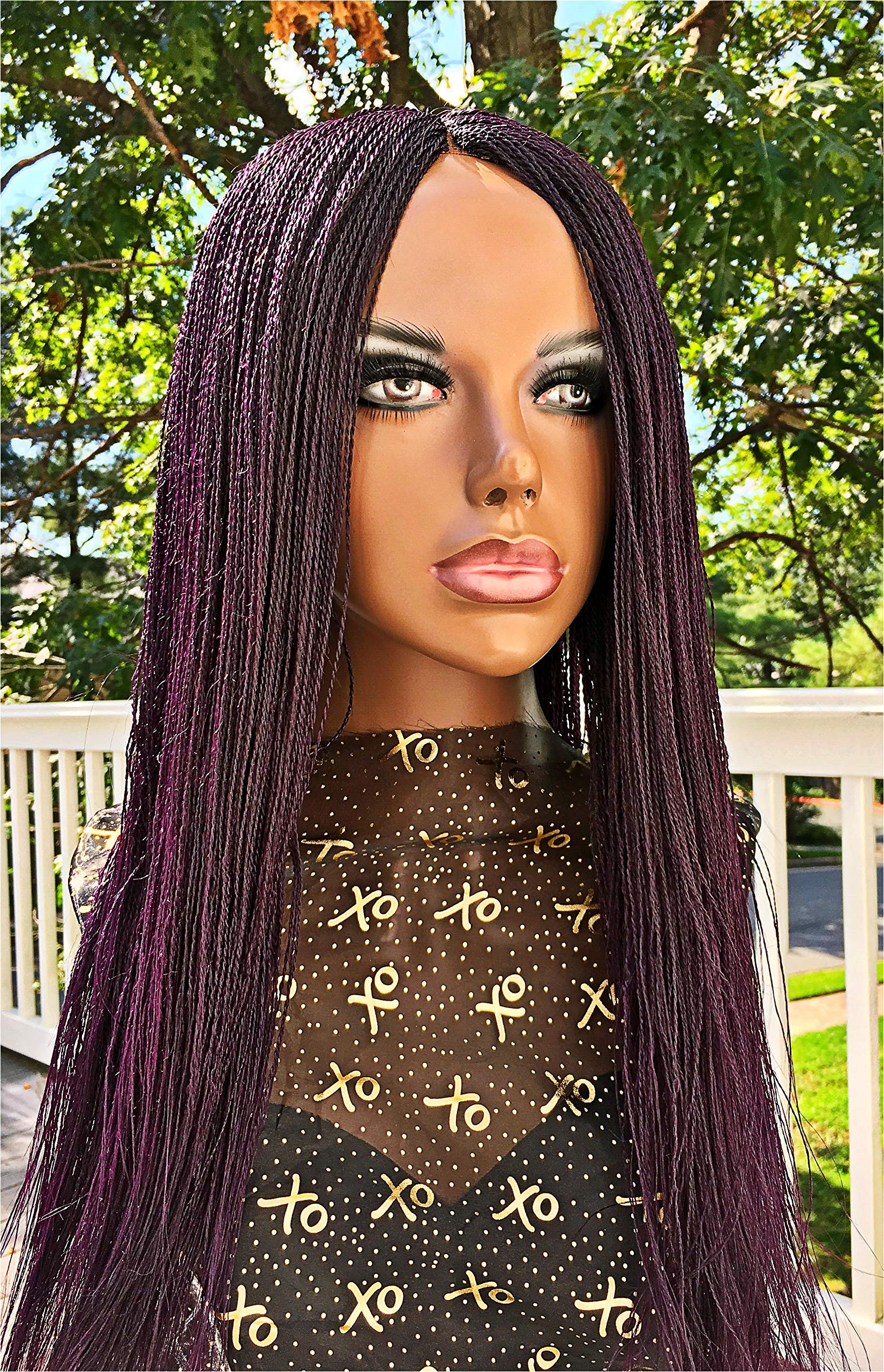 2Chique Boutique Women's Handmade Micro Twist Braided Wig Color Purple, 26 Inches