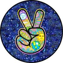 TIRE COVER CENTRAL Peace Sign Earth Spare Tire Cover (Select tire Size/Back up Camera in menu) Custom Sizes for Any Make Model 255/75R17 Dan Morris(c)