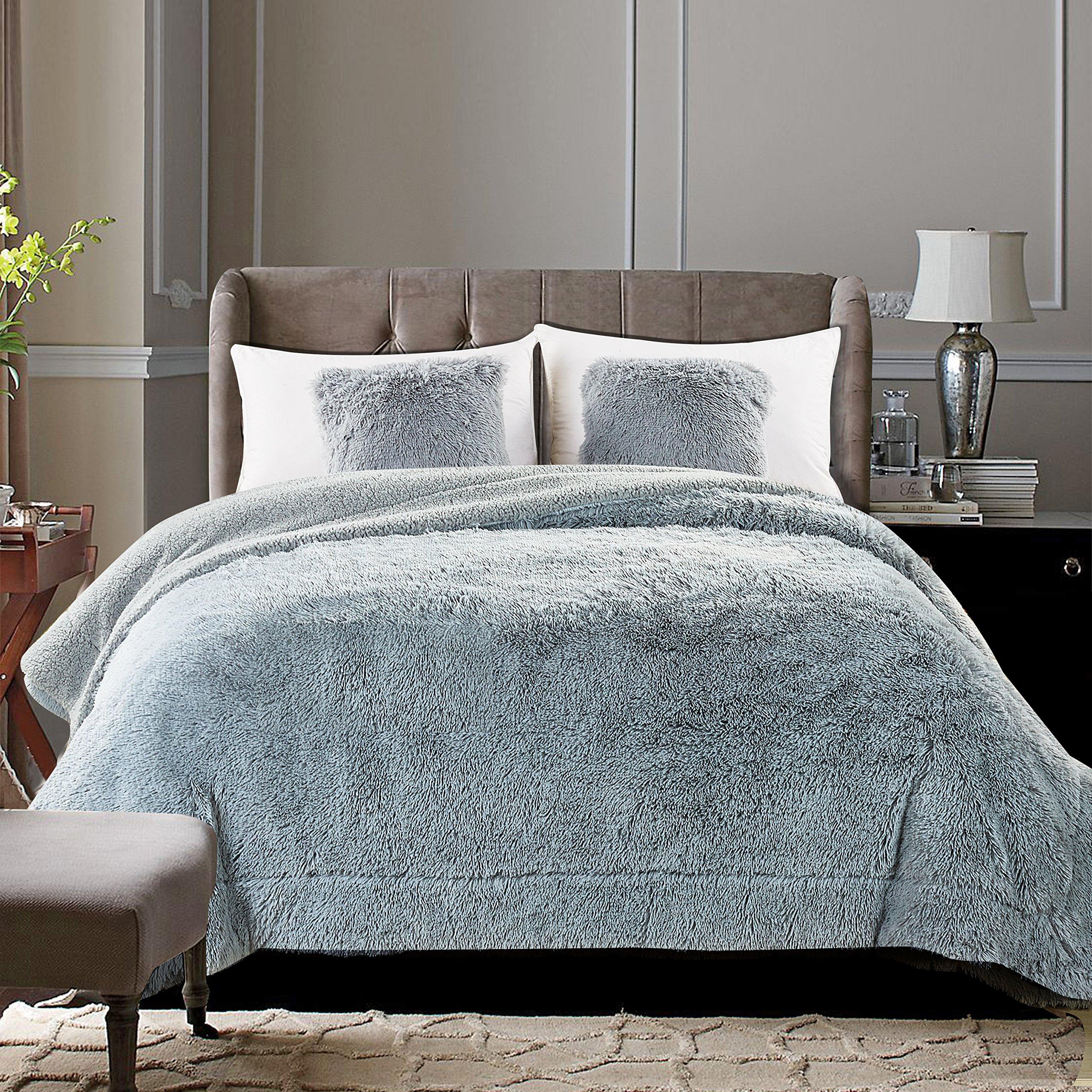 Chanasya Shaggy Longfur Faux Fur Throw Blanket - Fuzzy Lightweight Plush Sherpa Fleece Microfiber Blanket - for Couch Bed Chair Photo Props - Twin - Grey