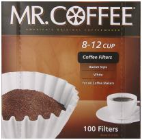 Mr. Coffee Basket Coffee Filters, 8-12 Cup, White Paper, 8-inch, 100-Count Boxes (Pack of 12)