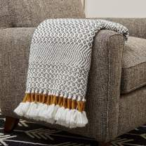 "Amazon Brand – Rivet Modern Hand-Woven Stripe Fringe Throw Blanket, Soft and Stylish, 50"" x 60"", Charcoal Grey and Mustard Yellow"