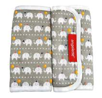 【angelette】Baby Carrier Reversible Sucking Pad/Car Seat Strap Covers/Stroller Belt Covers/Drool Pad/Teething Pad/Made in Japan(Gray Elephant)
