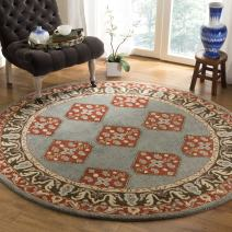 Safavieh Heritage Collection HG414A Blue and Charcoal Grey Round Area Rug (6' in Diameter)