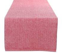 GLAMBURG Cotton Farmhouse Table Runner 72 Inch, Outdoor Table Runner 16x72, Herringbone Weave Woven Table Runner, Rustic Decor Elegant Dining Party Kitchen Table Runner Red White