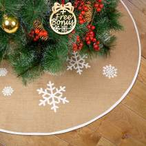 ITACH Christmas Tree Skirt 48 Inch - Large Burlap Tree Skirt for Xmas Holiday Party Decoration