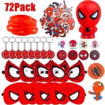 GROBRO7 72Pack Spiderman Themed Party Supplies Spiderman Masks Slow Rising Squishy Spiderman Cartoon Sticker Rubber Bracelet Badge Keychain Superhero Birthday Party Favor for Kids Baby Shower Birthday