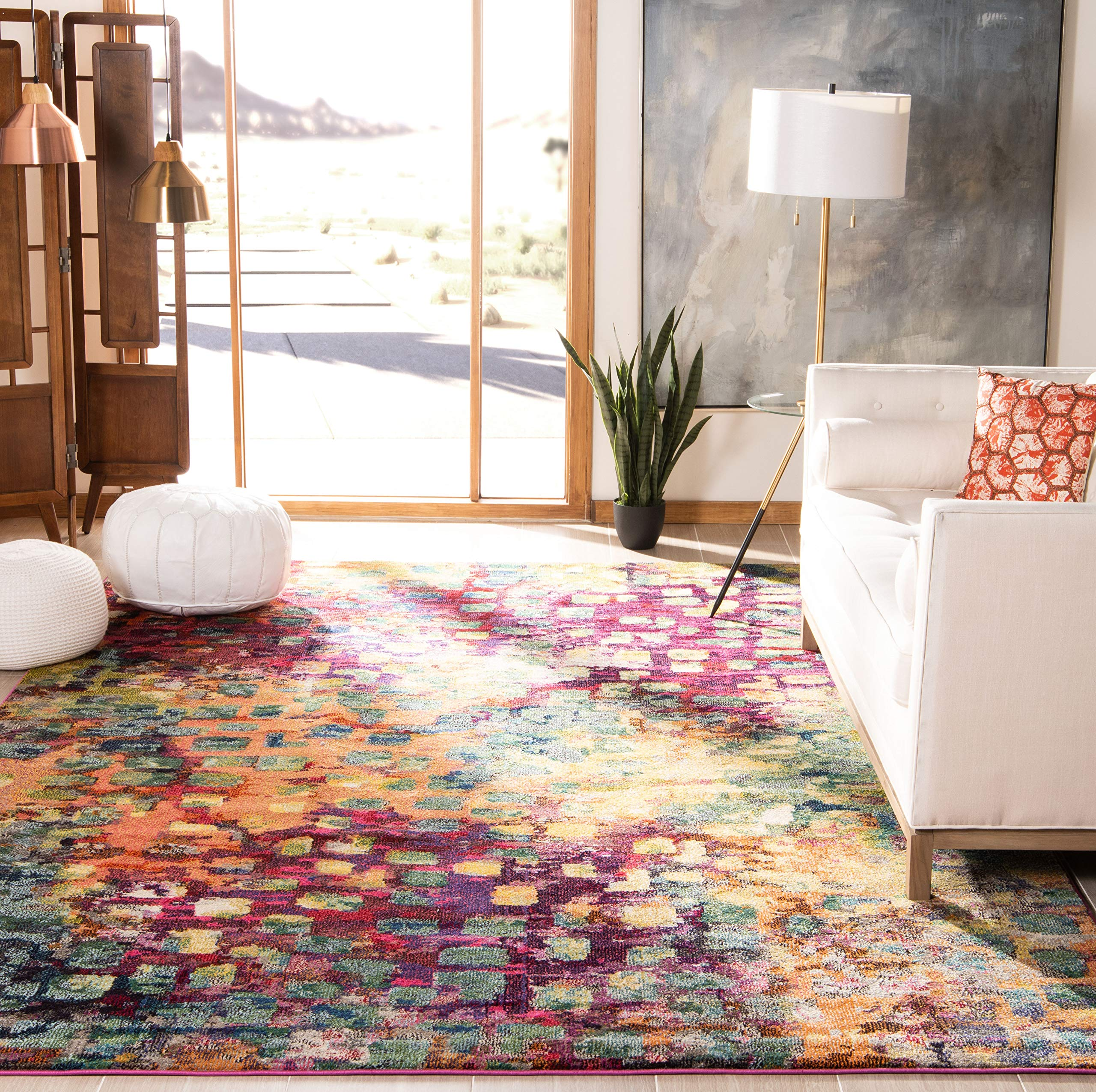 Safavieh Monaco Collection MNC225D Modern Boho Abstract Watercolor Area Rug, 10' x 14', Pink/Multi