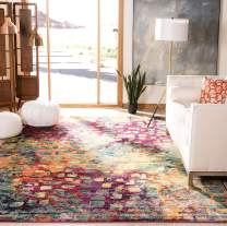 """Safavieh Monaco Collection MNC225D Modern Boho Abstract Watercolor Area Rug, 6' 7"""" x 9' 2"""", Pink/Multi"""