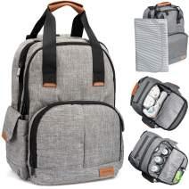 Simple Being Baby Diaper Bag Backpack, Multi-Function Travel Bag (Grey)