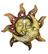 "George S. Chen Imports Burgundy Polyresin Home Decor Mosaic Sun Moon 13"" (63128), 7863067"