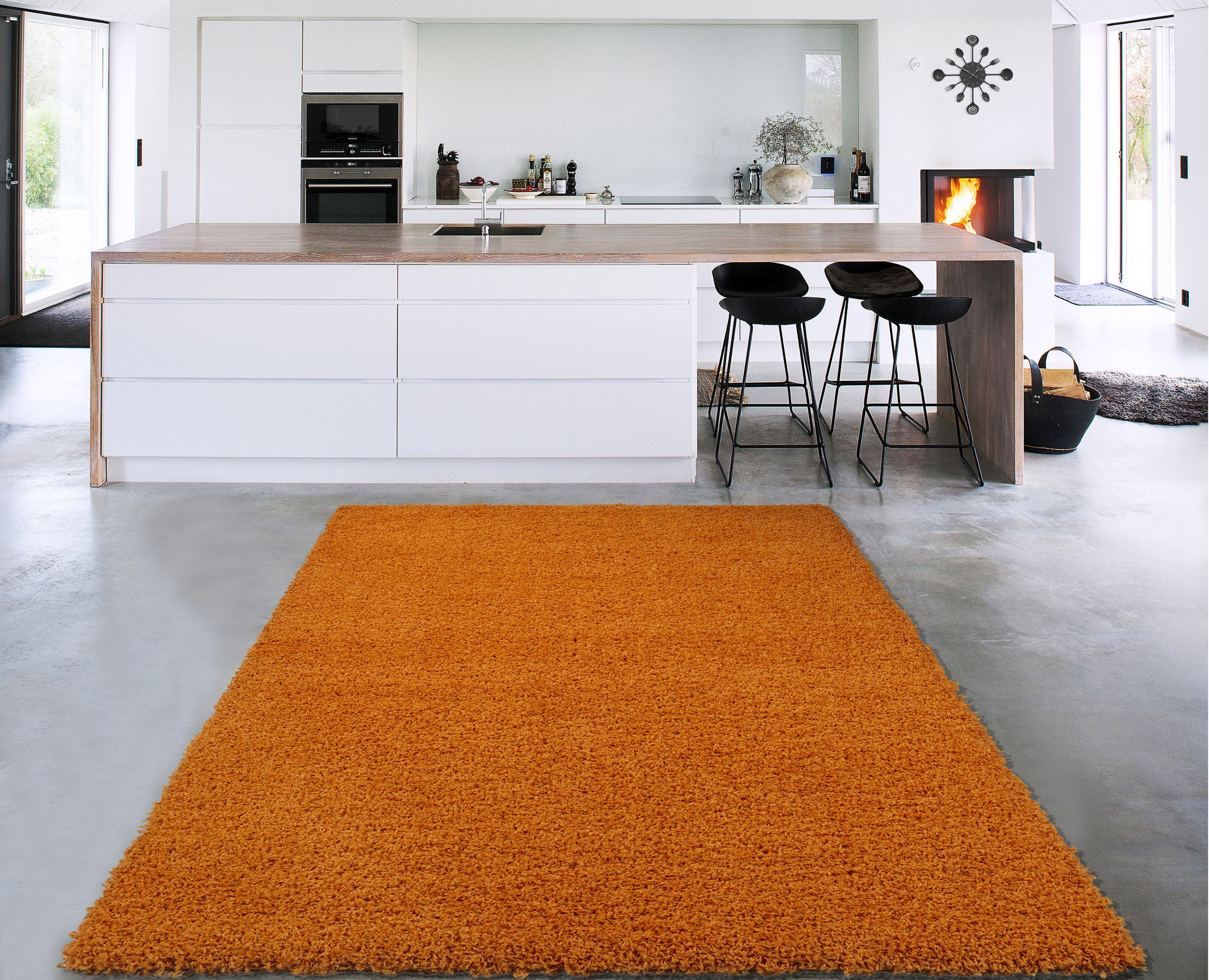 """Sweet Home Stores Cozy Shag Collection Solid Shag Rug Contemporary Living & Bedroom Soft Shaggy Area Rug, 79"""" L x 111"""" W, Orange"""