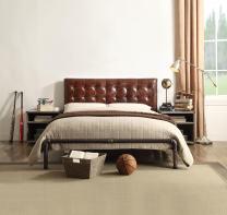 Acme Brancaster Bed, Vintage Brown Top Grain Leather, Queen