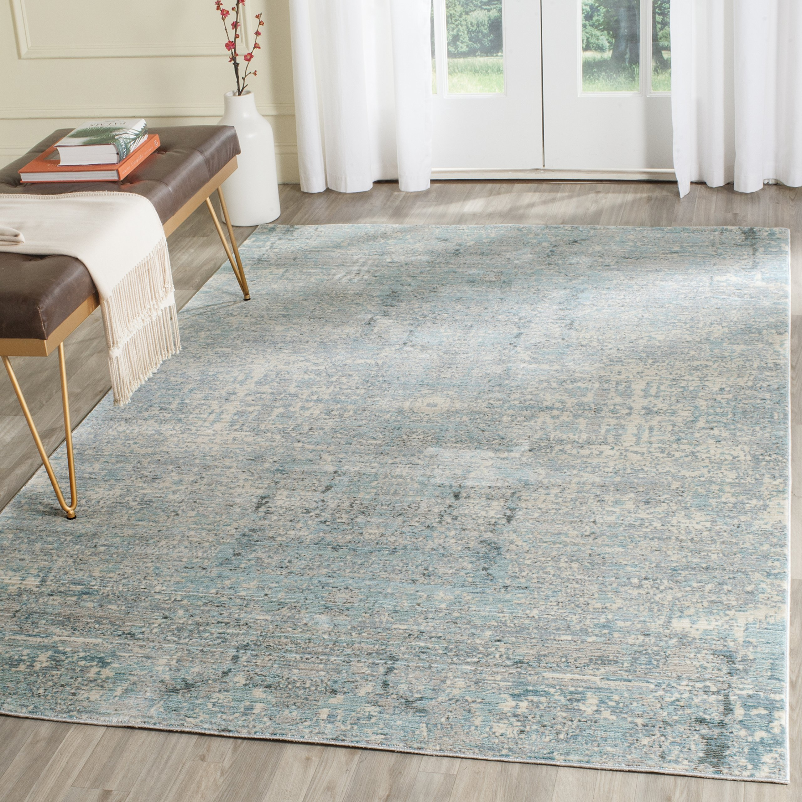Safavieh Mystique Collection MYS971A Vintage Watercolor Teal and Multi Distressed Area Rug (8' x 10')