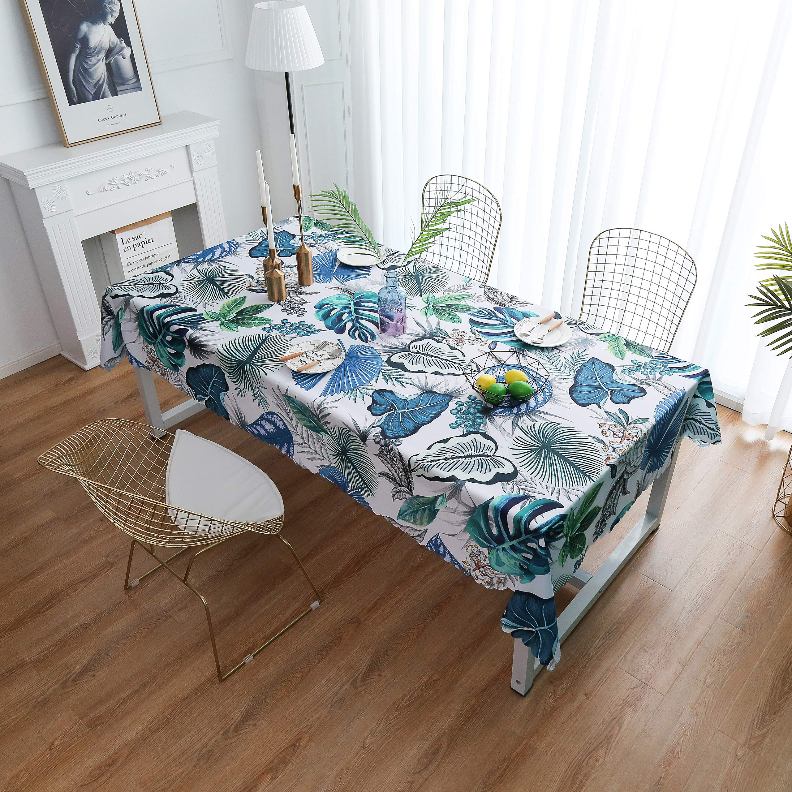 """iLiveX Tablecloth, Original Design Hand Drawing Art Print Table Cloth, Water-Proof Rectangle Table Cover, Kitchen Dining Indoor Outdoor Buffet Tabletop Decoration, 52""""x72"""" (Blue Tropical)"""