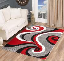 Glory Rugs Modern Area Rug Swirls Carpet Bedroom Living Room Contemporary Dining Accent Sevilla Collection 4817 (8x10, Red)