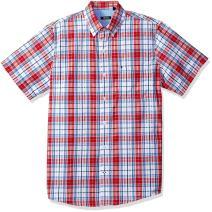 IZOD Men's Breeze Short Sleeve Button Down Plaid Seersucker Shirt