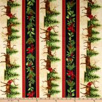 Wilmington Festive Forest Repeating Stripe Multi Fabric