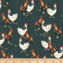 Windham Fabrics Whistler Studios Sunflower Market Chickens Fabric, Chalkboard, Fabric By The Yard