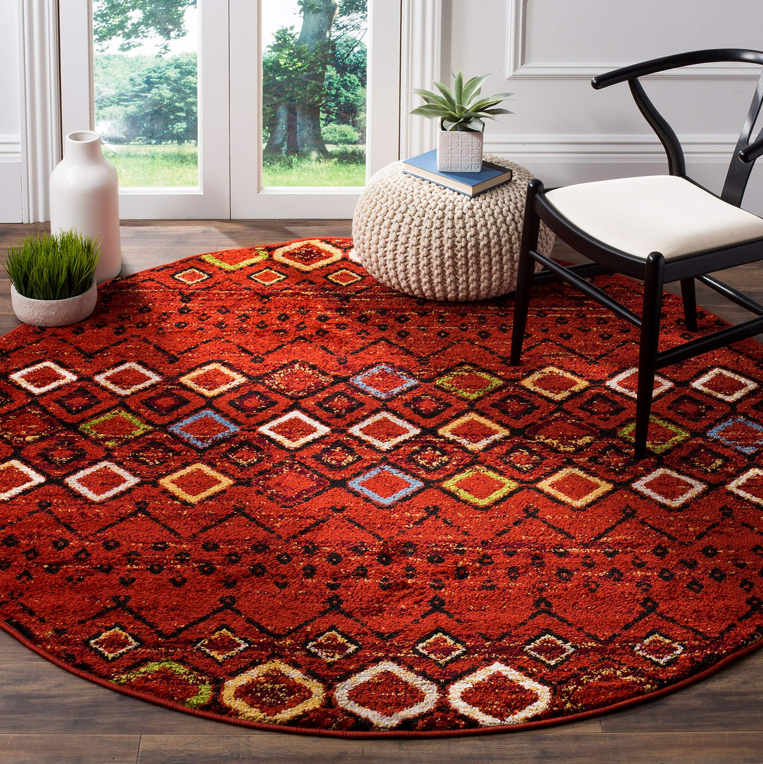 "Safavieh Amsterdam Collection AMS108D Area Rug, 5' 1"" Round, Terracotta/Multi"
