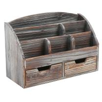 MyGift Distressed Torched Wood Desk Organizer, 6 Compartment 2 Drawer Supplies Rack