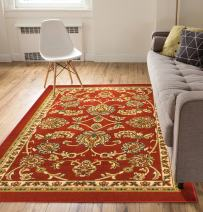Well Woven Non-Skid/Slip Rubber Back Antibacterial 5x7 (5' x 7') Area Rug Timeless Oriental Red Traditional Classic Sarouk Thin Low Pile Machine Washable Indoor Outdoor Kitchen Hallway Entry