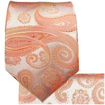 Paul Malone Necktie, Pocket Square and Cufflinks 100% Silk Coral Paisley