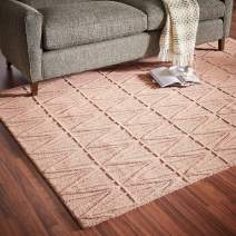Amazon Brand – Rivet Sunset Textured Geo Pattern Wool Area Rug, 5 x 8 Foot, Pink