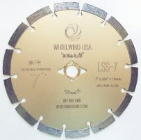 """Whirlwind USA LSS 7-Inch Dry or Wet Cutting General Purpose Power Saw Segmented Diamond Blades for Concrete Stone Brick Masonry (7"""")"""