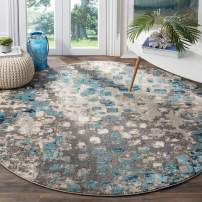 Safavieh Monaco Collection MNC225E Modern Boho Abstract Watercolor Area Rug, 3' Round, Grey/Light Blue