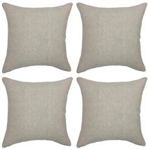 YOUR SMILE Solid Color Grey Jean Decorative Throw Pillow Case Cushion Cover Pillowcase for Sofa 18 x 18 Inch, Set of 4