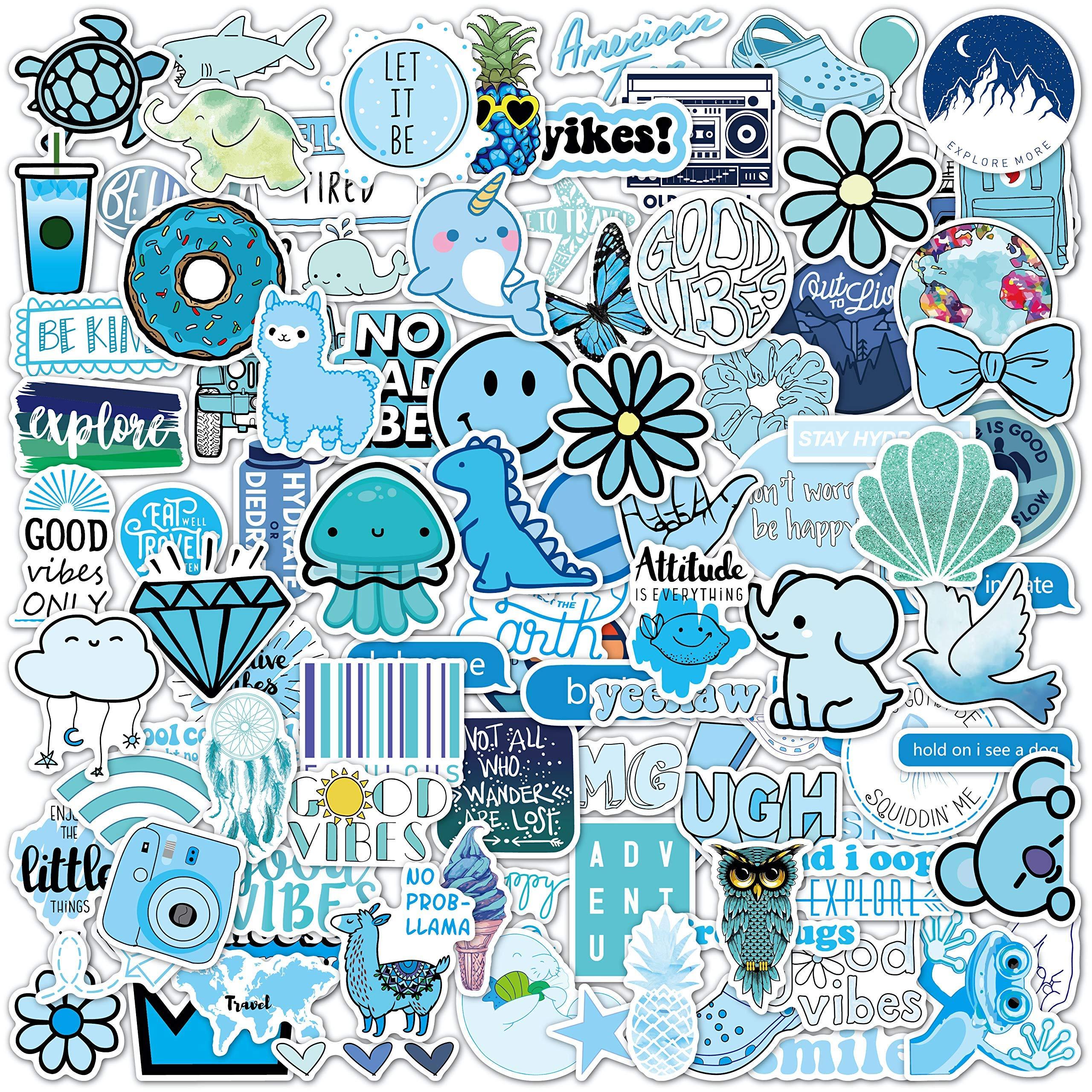 100 Blue VSCO Stickers, Aesthetic Stickers, Cute Stickers, Laptop Stickers, Vinyl stickers, Stickers for Water Bottles, Waterproof stickers for kids teen girls, Christmas teen girl gifts sticker packs