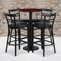 Flash Furniture 24'' Round Mahogany Laminate Table Set with Round Base and 4 Two-Slat Ladder Back Metal Barstools - Black Vinyl Seat