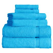 SALBAKOS Cambridge Ultra Luxury Hotel Collection & Spa Bath Towels Turkish Cotton Bath Towels Made in Turkey 700gsm Eco-Friendly Bulk Save (6 Piece Set, Aqua)