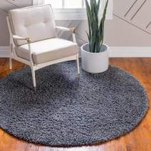 Unique Loom Davos Shag Collection Contemporary Soft Cozy Solid Shag Peppercorn Round Rug (3' 3 x 3' 3)