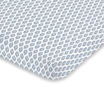 NoJo Indigo Hues Geometric Pattern 100% Cotton Fitted Crib Sheet, Blue/White