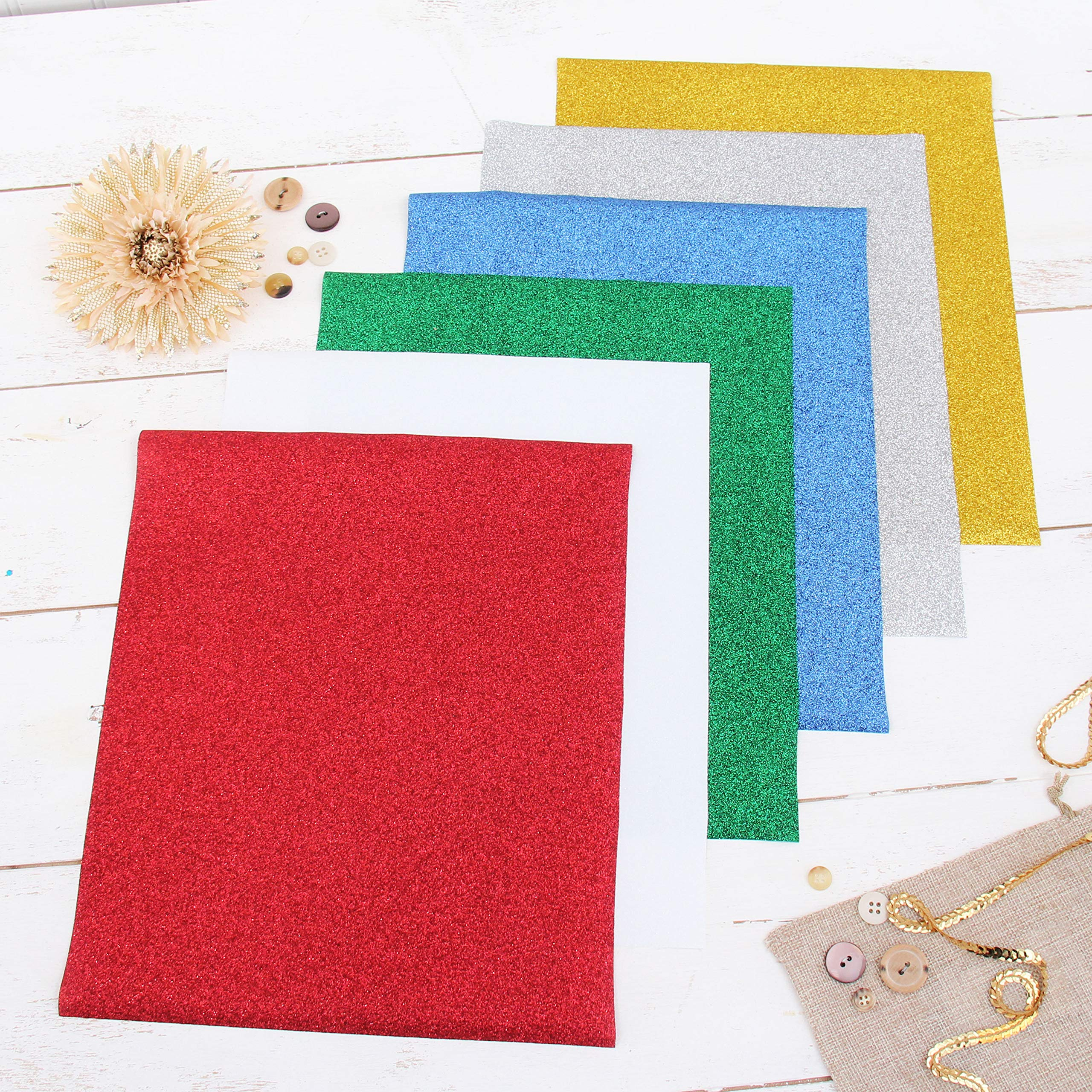 """Threadart Holiday Colors 10"""" x 12"""" Glitter Heat Transfer Vinyl Precut Sheets 