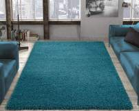 """Ottomanson Cozy Solid Color Contemporary Living and Bedroom Kids Soft Shaggy Area (6'7"""" X 9'3"""", Blue) shag rug, Turquoise"""