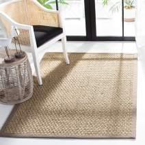 Safavieh Natural Fiber Collection NF114P Border Basketweave Seagrass Area Rug, 3' x 5', Grey