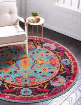 Unique Loom Medici Collection Abstract Botanical Vibrant Colors Light Blue Round Rug (6' 0 x 6' 0)