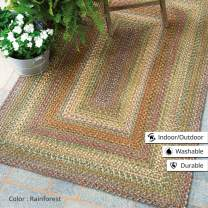 """Rectangle Braided Rug 20"""" x 30"""" Homespice Rainforest Beige, Red, Green Indoor - Outdoor, Durable Eco Friendly Natural Fiber, Easy to Clean, Reversible, Handmade"""