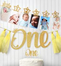 1st Birthday Gold Glitter Decorations - Handmade Monthly Milestone Photo banner for Newborn to 12 months, Cake Topper and ONE Banner. Great for 1 Year old Celebration, Baby Shower Gift Party Supplies