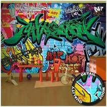 Children's Room Wall Mural – Graffiti Wall Decoration – Colorful Signs Writing Pop Art Street Style Writing Hip Hop Wallpaper Street Art Decor Wallpaper (132.3 x 93.7 Inch / 336 x 238 cm)