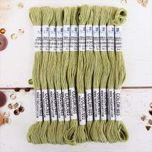 12 Skeins ThreadArt Premium Egyptian Long Fiber Cotton Embroidery Floss   Moss Green   Six Strand Divisible Thread 8.75yds Each Skein For Hand Embroidery, Friendship Bracelets, Cross stitch and Crafts
