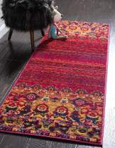 Unique Loom Medici Collection Vibrant Colors Abstract Botanical Red Runner Rug (2' 7 x 10' 0)