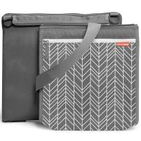 Skip Hop Baby Infant & Toddler Central Park Waterproof Convertible Outdoor Blanket & Detachable Cooler Bag, Grey Feather