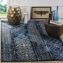 Safavieh Adirondack Collection ADR111A Moroccan Boho Distressed Area Rug, 9' x 12', Blue/Black