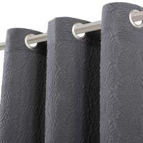 LORDTEX 3D Embossed Textured Matelassé Sculptured Effect Grommet Curtains for Bedroom and Living Room - Light Filtering & Privacy Curtain Panels, Set of 2 Panels, 40 x 95 inch, Dark Grey