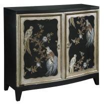"Pulaski  Old World Fabric Sewn Charlotte Bird Motif Accent Wine Cabinet, 40.3"" x 16.5"" x 38.3"""